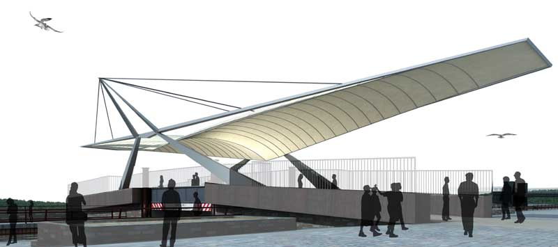 Clydebank shopping centre swan bridge re built competition for Steel shade structure design